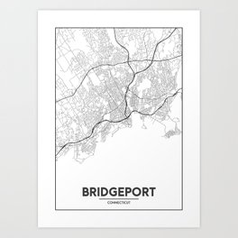 Minimal City Maps - Map Of Bridgeport, Connecticut, United States Art Print
