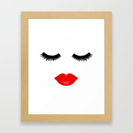 Lips and Lashes Framed Art Print