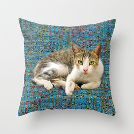 Cute cat on abstract background Throw Pillow