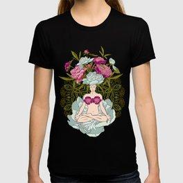 beautiful woman doing yoga meditation T-shirt