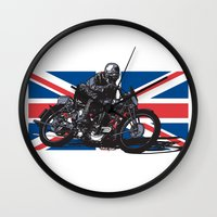 cafe racer Wall Clocks featuring Norton TT Racer by Ernie Young
