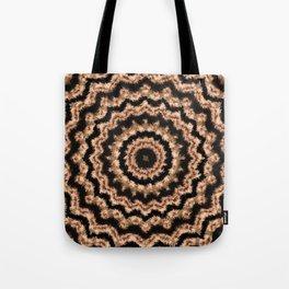 Kaleidoscope Beige Circular Pattern on Black Tote Bag