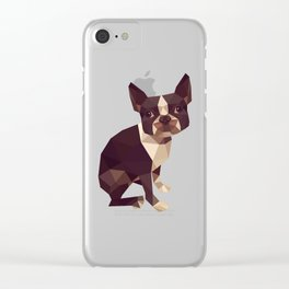 Low Polygon Boston Terrier Clear iPhone Case