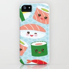 pattern Kawaii funny sushi rolls set with pink cheeks and big eyes, emoji iPhone Case