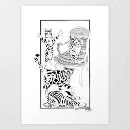 Cats with a chair - Ink artwork Art Print