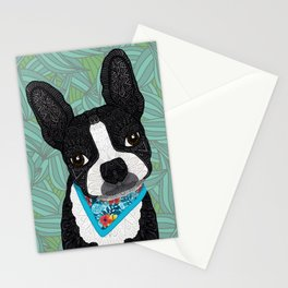 Tropical Boston Terrier Boy Stationery Cards