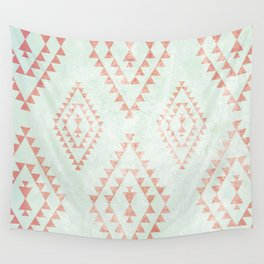 mint & coral tribal pattern Wall Tapestry