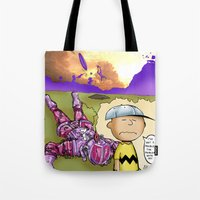 peanuts Tote Bags featuring Peanuts  by Anand Brai