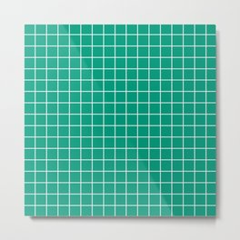 Paolo Veronese green - green color - White Lines Grid Pattern Metal Print