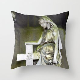 Green angel Throw Pillow