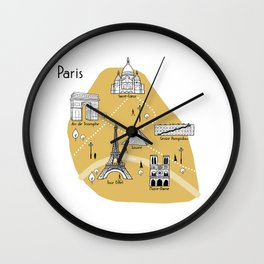 Mapping Paris - Yellow Wall Clock