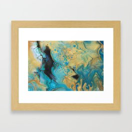 Fluid nature - Golden Sands -  Acrylic Pour Art Framed Art Print