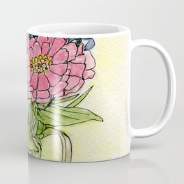 Pink Zinnias in Pitcher Watercolor Coffee Mug