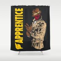 watchmen Shower Curtains featuring Darth Rorschach  (Watchmen/Star Wars mashup) by Pixhunter