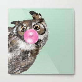 Sneaky Owl Blowing Bubble Gum Metal Print