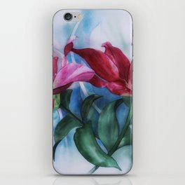 Wine Lilies In Pastel Watercolour iPhone Skin