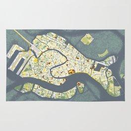 Venice city map antique Rug