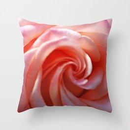 Spiral Pink Rose Flower Close up Throw Pillow