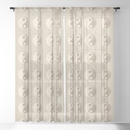 Yin and Yang Peace in Neutral Sheer Curtain