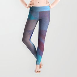 brush painting texture abstract background in blue brown Leggings