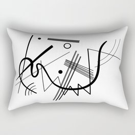 Kandindky - Black and White Abstract Art Rectangular Pillow
