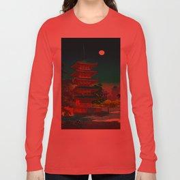 Tsuchiya Koitsu Vintage Japanese Woodblock Print Pagoda At Night Long Sleeve T-shirt