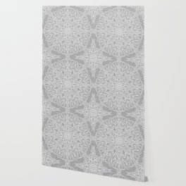 White Mandala on Grey Linen Wallpaper