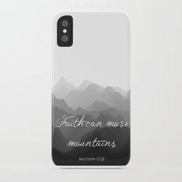 Faith Can Move Mountains Religious Bible Verse Art - Matthew 17:20 iPhone Case