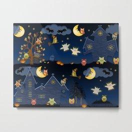 halloween owls Metal Print