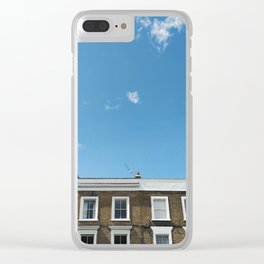 Blue Sky in a Historic Brick and White London Terraced Street Clear iPhone Case