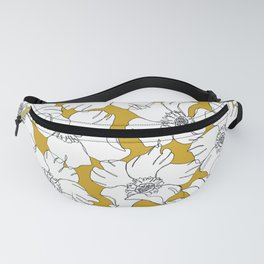 Yellow flowers line drawing - Floral 001 Fanny Pack