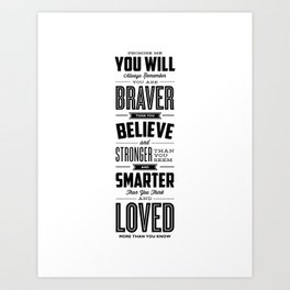 You Are Braver Than You Believe black-white typography poster childrens room nursery wall home decor Art Print