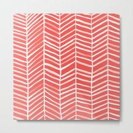 Coral Herringbone Metal Print
