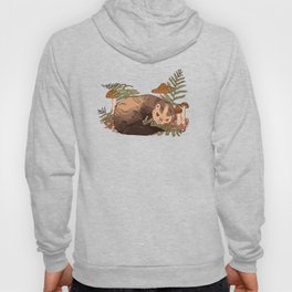 Sleeping Ferret with Ferns and Mushrooms Hoody