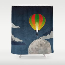 Picnic in a Balloon on the Moon Shower Curtain