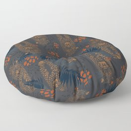 Midnight Leopard - Navy and orange Leopard and Palm pattern Floor Pillow