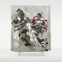 rugby Shower Curtains featuring Rugby Football Wall Art by Moonlake Designs