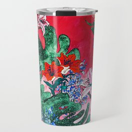 Ruby Red Floral Jungle Travel Mug