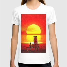 calvin and hobbes sunset T-shirt