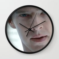 benedict cumberbatch Wall Clocks featuring Khan - Benedict Cumberbatch by Kate Dunn