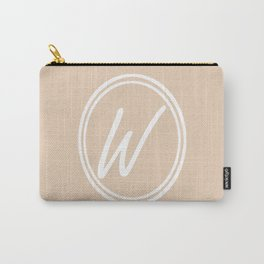 Monogram - Letter W on Pastel Brown Background Carry-All Pouch