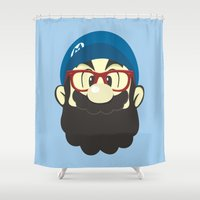 mario Shower Curtains featuring Mario bro by Beardy Graphics