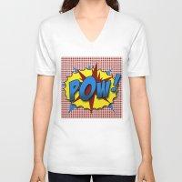 lichtenstein V-neck T-shirts featuring Pop Art Pow in comic Lichtenstein style by Suzanne Barber