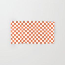 Living Coral Color Checkerboard Hand & Bath Towel