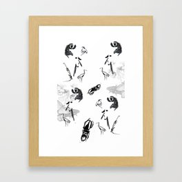 monkey, butterflyes and ... Framed Art Print