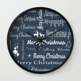 Merry Christmas typography Wall Clock