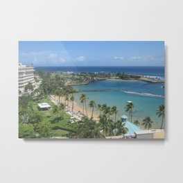 Beach at Caribe Hilton, San Juan, Puerto Rico, before Maria Metal Print