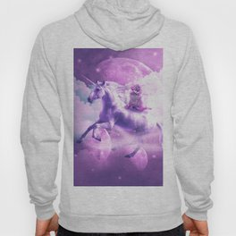 Kitty Cat Riding On Flying Space Galaxy Unicorn Hoody