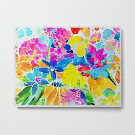 Colorful flowers watercolour Metal Print