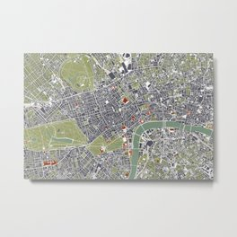 London city map engraving Metal Print